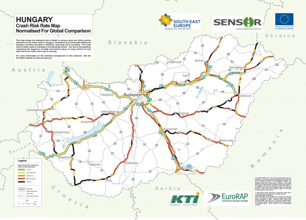 A hazai úthálózat kockázati térképe alapján itt a legveszélyesebb autózni. A Közlekedéstudományi Intézet készítette el az uniós SENSoR projekt keretében, a forgalmi adatok és a baleseti statisztikák figyelembevételével a felmérést.